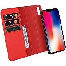 Custodia iPhone X, ZOVER Staccabile Pelle Portafoglio Custodia Con la funzione Auto Sleep / Wake, Supporta la ricarica wireless, Supporto magnetico per auto, Chiusura Magnetica - Rosso