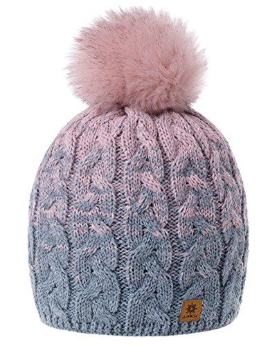 MFAZ Morefaz Ltd Damen Herren Winter Beanie Strickmütze Mütze Wurm Fleece Bommel Fashion SKI (Grey Rose-Pink)