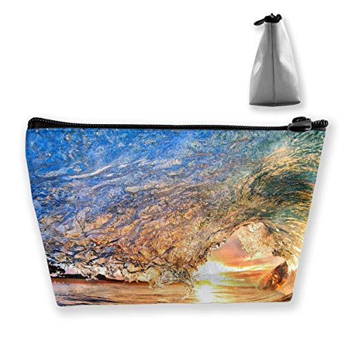 Trapez Reise Make-up Taschen Kulturbeutel Tragbare Stiftetui Fall Hawaii Surfing Carry Case (Caboodles Große Make-up Fall)
