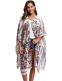 Kimono Gilet Veste Casual Cardigan Long Pareo Poncho Plage Ample Floral Ourlet Chiffon Long Femme Robe Bohème Grande Taille Caftan Long Été en Mousseline