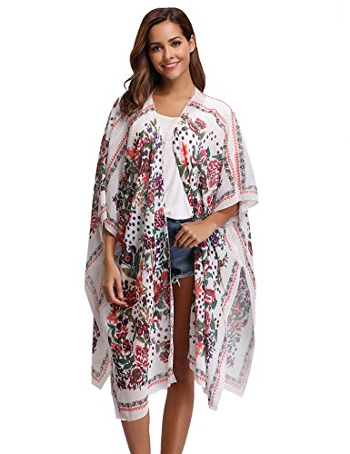 Kimono long femme gilet cardigan Été Floral Imprimé en mousseline Soie Vêtement De Plage Soleil bohème Vacances Cover up ample chemisier top transparent caftan long - Rose - Taille X-Large