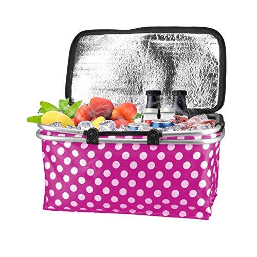 DoKu Faltbare Picknickkorb Tragbarer Isolierung korb wasserdicht Kühltasche Einkaufskorb Weiche Kühler (Rosa)