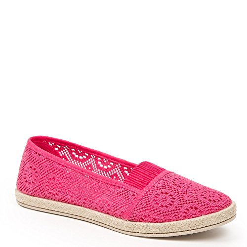 Ideal Shoes – Espadrilles in Haken Majoran Rot - Fuchsia