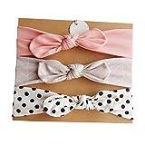 LQZ 3CS/Set Multicolor Baby Girl Soft Headband with Bowtie Flower Princess Hairband (C)