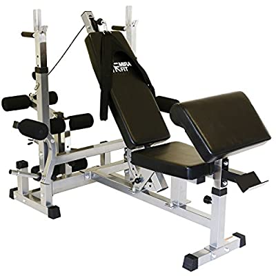 MiraFit Multi Function Gym Weight Bench with Preacher Curl, Butterfly, Leg & Cable Atttachments from MiraFit