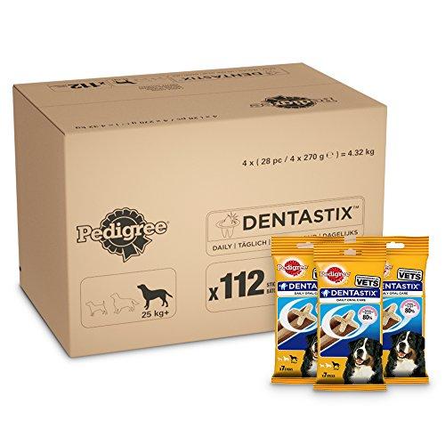 Pedigree DentaStix 1x Täglich Hundeleckerli für große Hunde, Kausnack mit Huhn- und Rindgeschmack gegen Zahnsteinbildung für gesunde Zähne, 1er pack (1 x 112 Stück)