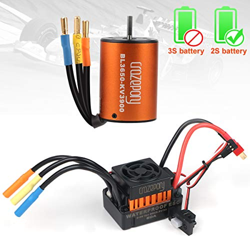 Crazepony-UK B3650 3900KV Brushless Motor Sensorless Waterproof with 60A ESC Electronic Speed Controller Combo Shaft 3.175mm for 1/10 RC Car Only 2S Lipo -