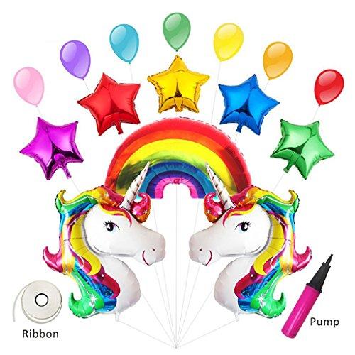 Meowoo Unicorno Palloncini,Arcobaleno Palloncini Natale Decorazioni,Palloncino per Unicorno per forniture kit palloncini compleanno party,con pompa e nastro (Rainbow & Unicorn 17 pezzi)