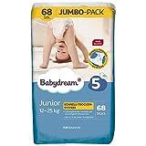 babydream Windeln Junior Jumbo-Pack 68 Stück Größe 5, 12-25 kg, dünne Windel für mehr Bewegungsfreiheit, Schlaf-Gut-Vlies, Tag- & Nachtsicher, sanftweiche Oberfläche