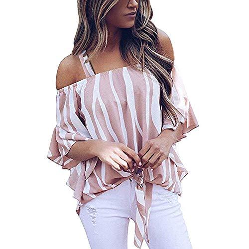 UYSDF Damen Kalte Schulter Gestreift Spaghetti Gurt Hemd Beiläufig Kurzarm Hals durchschneiden Bluse Tops 2019 (Weste Gurt Frauen Feine)