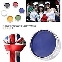 Fosa 6 colores Pintura Facial y Corporal pigmento facial pintura corporal a base de agua maquillaje partido juego fútbol, Fiestas y Cumpleaños(6 colores) rojo, amarillo, verde, azul, negro, blanco