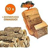 10 Sacchi da 15kg legna da ardere 100% faggio 150kg tronchetti per camino stufa (33 CM)