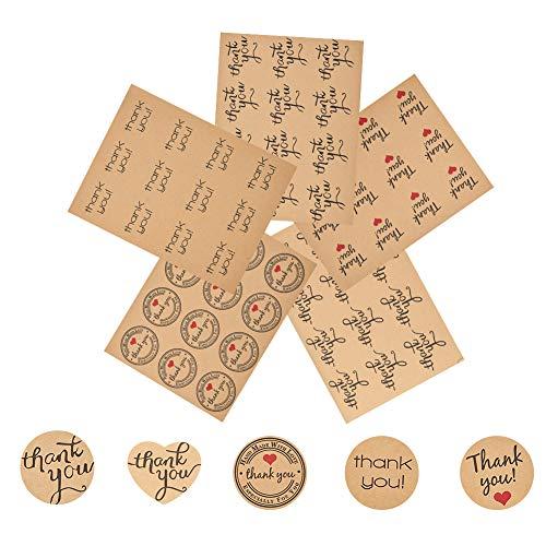 PandaHall Elite 100 Fogli Adesivi Etichette Thank You Sticker Tag per Bomboniere Cottura, Colore Misto, 34-38mm, 12 Pezzi/Foglio, 20 Fogli/Tipo, 100 Fogli/Set