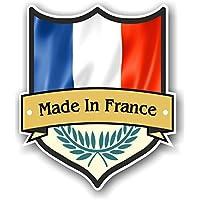 Made in France Shield design con motivo bandiera Country francese per moto auto caravan sticker 100x 85mm
