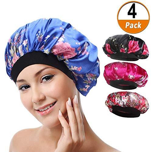 4 paket Weiche Satin Schlafmütze Wide Band Salon Bonnet Silk Nacht Schlaf Hut Haarausfall Kappe für Frauen, 4 Arten - Satin 4