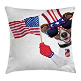 Ambesonne 4th of July Throw Pillow Cushion Cover, Patriotic American Breed Dog Celebrating - Best Reviews Guide