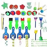 Wlive 26 Stile Mini Malerei Schaum Schwamm Pinsel Kinder Malwerkzeuge Frühe DIY Lernen/Kinder Malen Lernen (Multicolor), Malerei Zeichenwerkzeuge in Einem klaren dauerhaften Aufbewahrungstasche