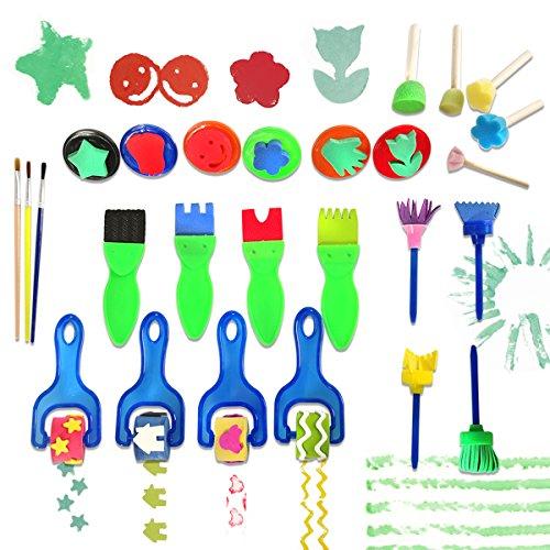 Malerei Schaum Schwamm Pinsel Kinder Malwerkzeuge Frühe DIY Lernen/Kinder Malen Lernen (Multicolor), Malerei Zeichenwerkzeuge in Einem klaren dauerhaften Aufbewahrungstasche ()