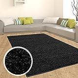 Teppich Shaggy Hochflor Langflor Flokati Einfarbig/ Uni aus Polypropylen in Schwarz für Wohn-Schlafzimmer, Größe: 70x140 cm