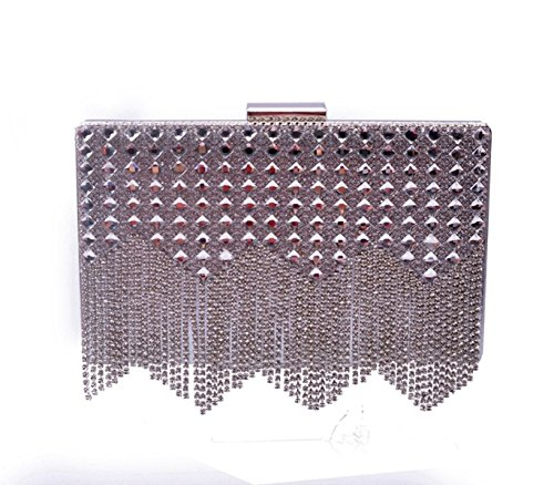 POKWAI POKWAI Frau Quaste Diamanten Abendtasche Abendtasche High - End - Diamant Bankett Tasche Hand Kupplung Geldbörse Silver