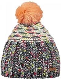 0ead358e82d Barts-Bonnet à Pompon Maille chiné Gris Corail Enfant Fille 3 au 10 Ans