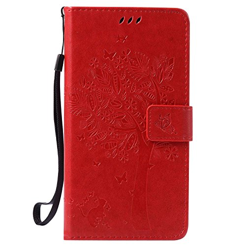 Guran® PU Leder Tasche Etui für Wiko Pulp Fab 4G LTE (5,5 Zoll) Smartphone Flip Cover Stand Hülle und Karte Slot Case-rote
