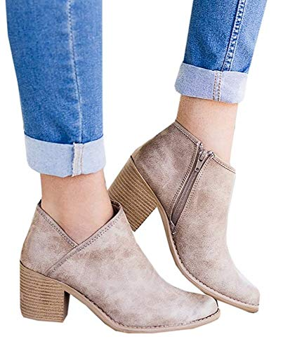 Botines Mujer Tacon Medio Invierno Planos Tacon Ancho Piel Botas Botita Moda 5cm Casual Planas Zapatos Calzado Caqui Rosa Azul Negros 35-43 KH38