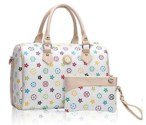 GetThatBag® Crystal monogramme Barrel Sacs bowling Handbag Sac d'épaule (Blanc)