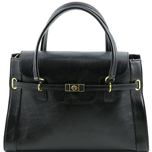 Tuscany Leather - TL NeoClassic - Sac à main en cuir avec fermoir twist Rouge - TL141230/4 Noir