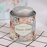 Ustensile Stockage de thé de boîte de fer blanc de boîte de bidon de thé de café de sucre en métal (Brown-Small) Pot