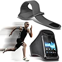 ( Grey 153.2 x 78) Oukitel U15 Pro case High Quality Fitted Sports Armbands Running Bike Cycling Gym Jogging Ridding Arm Band case cover by i-Tronixs