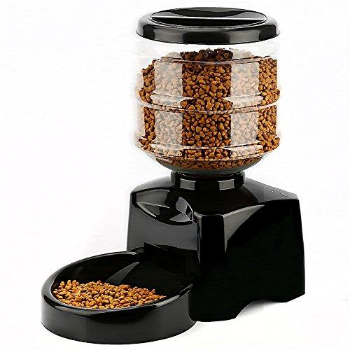 Amzdeal Distributore Cibo Automatico per Gatti e Cani Pet Feeder Automatico con LCD Display, Registra Voce, 5,5L, 1-3 Pasti Ogni Giorno