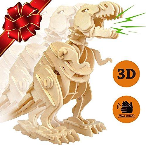 Motionjoy suono controllo robotico 3D camminare Puzzle Robot giocattoli - Top fantasia edificio giocattolo artigianale del dinosauro in legno puzzle per bambini e adulti + miglior regalo di Natale per ragazzi e ragazze ( T-Rex)