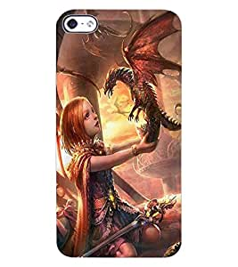 ColourCraft Cute Girl with Baby Dragon Design Back Case Cover for APPLE IPHONE 4S