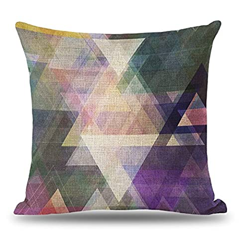 Coolsummer Linen Square Throw Pillow Case Decorative Cushion Cover Colorful Abstract Geometric Pillowcase with Hidden Zipper for Sofa,Bed,Chair,Auto Seat 18