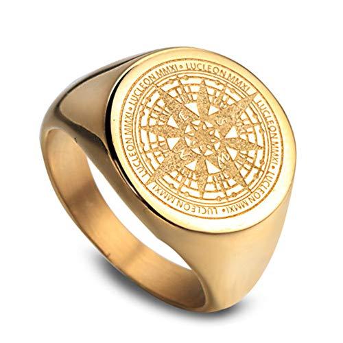 OAKKY Herren Kompass Mystiker Hip Hop Ringe Edelstahl Gold Größe 57 (18.1)