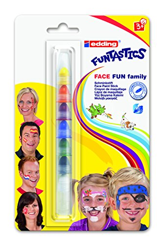 EDDING - stylo gel 47 face painter, Crayon de maquillage, assorti en7 couleurs, noir,rouge, bleu, vert, jaune, orange et blanc, sur carte Blister (04 BL47-1 000)
