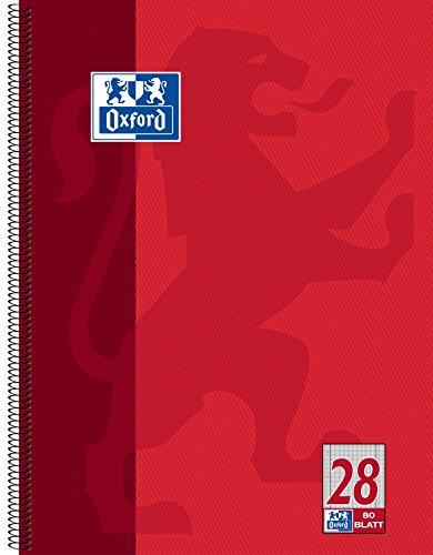 OXFORD 100050361 Collegeblock Schule A4 Lineatur kariert mit Doppelrand 80 Blatt 90 g/m² seidenglattes Papier gelocht rot Schreibblock Notizblock Briefblock Schulblock