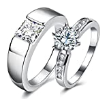 Via Mazzini White Gold Plated Crystal Proposal Couple Rings For Boys And Girls (Ring0362)