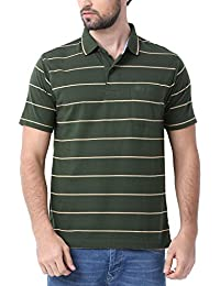 Classic Polo Green Striped Polo T-shirt For Men