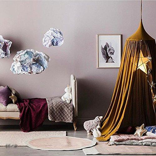 Betthimmel Baldachin Baumwolle Rund Moskitonetz Insektenschutz Kinder Prinzessin Spielzelte Dekoration fürs Kinderzimmer (yellow) ()
