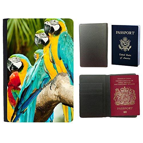 Blau Ara Und Gold (PU Pass Passetui Halter Hülle Schutz // V00002993 Blau und Gold Ara Papageien // Universal passport leather cover)