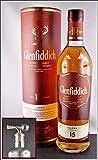 Glenfiddich Solera Reserve 15 Jahre Single Malt Whisky (0,7 Liter-40 %VOL.) und 1 Flaschenportionierer aus Echtglas mit Naturkork