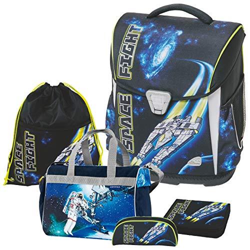 Space Fight Raumschiff Weltall Schulranzen-Set Schneiders Toolbag Basic mit LEUCHTEFFEKT 5tlg. mit Schulsporttasche - 78436-80