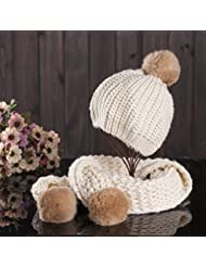 Qiaoba- Mme Hot Winter Sweater Knit Hat / Scarf Ensemble 2 pièces
