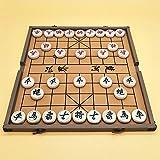 FunnyGoo Beechwood Xiangqi Chinesisches Schachspiel mit Faltschachtel Schachbrett, Große Größe 4 cm Durchmesser Schach, Box Farbe Kann variieren