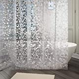 Kuber Industries PVC Shower Curtain with 8 Rings - 7ft, White
