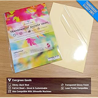 20 Sheets Quality Waterproof A4 Clear/Transparent Vinyl Glossy Sticky Self Adhesive Laser Printable