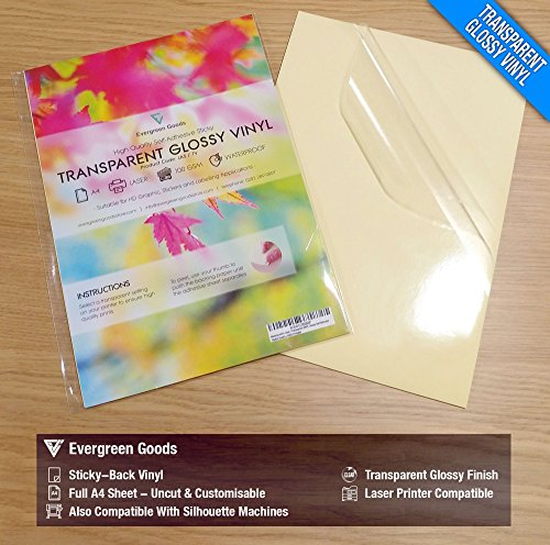20 hojas de vinilo brillante autoadhesivo impreso con láser, impermeable, A4, transparente.