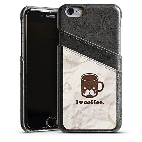 Apple iPhone 6 Housse Étui Silicone Coque Protection Café Tasse Amour Étui en cuir gris
